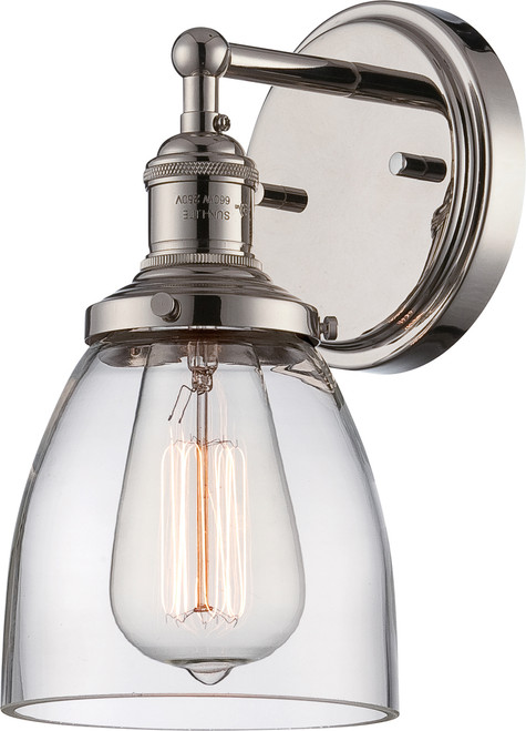 NUVO Lighting 60/5414 Vintage 1 Light Sconce with Clear Glass (Vintage Bulb Included)