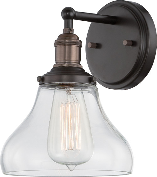 NUVO Lighting 60/5513 Vintage 1 Light Sconce with Clear Glass (Vintage Bulb Included)