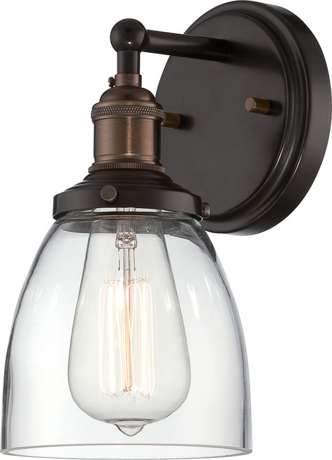 NUVO Lighting 60/5514 Vintage 1 Light Sconce with Clear Glass (Vintage Bulb Included)
