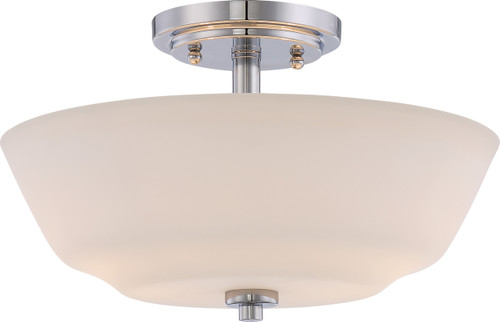 NUVO Lighting 60/5806 Willow 2 Light Semi Flushmount Fixture with White Glass