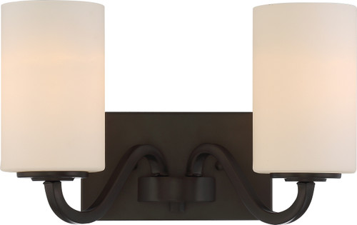 NUVO Lighting 60/5902 Willow 2 Light Vanity Fixture with White Glass