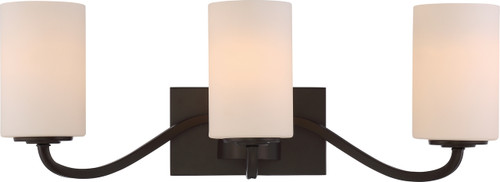 NUVO Lighting 60/5903 Willow 3 Light Vanity Fixture with White Glass
