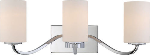 NUVO Lighting 60/5803 Willow 3 Light Vanity Fixture with White Glass