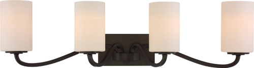 NUVO Lighting 60/5971 Willow 4 Light Vanity Aged Bronze with White Glass