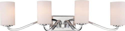 NUVO Lighting 60/5871 Willow 4 Light Vanity Polished Nickel with White Glass