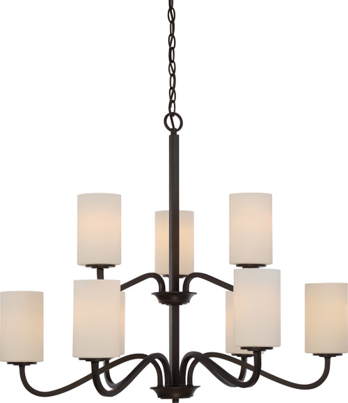 NUVO Lighting 60/5909 Willow 9 Light 2-Tier Hangng Fixture with White Glass