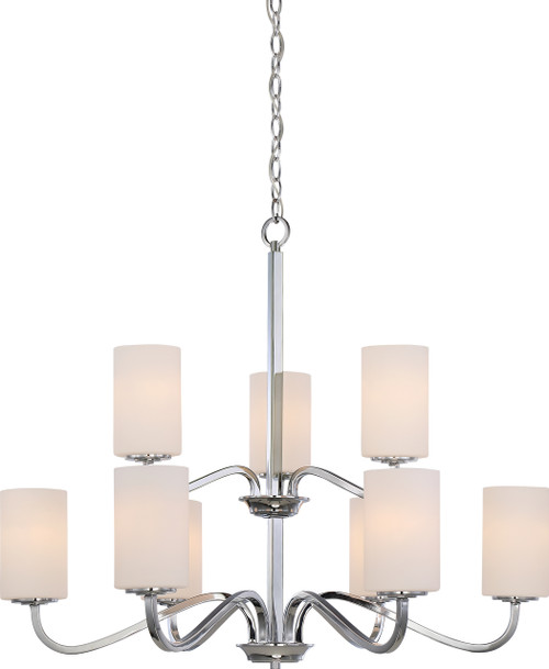 NUVO Lighting 60/5809 Willow 9 Light 2-Tier Hangng Fixture with White Glass