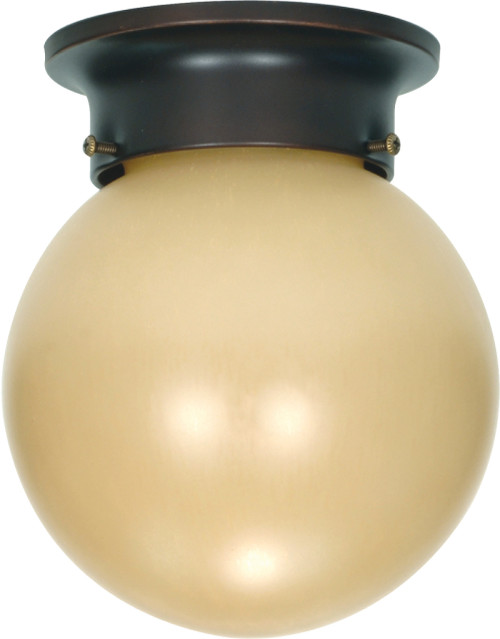 """NUVO Lighting 60/1279 1 Light 6"""" Ceiling Mount with Champagne Linen Washed Glass"""