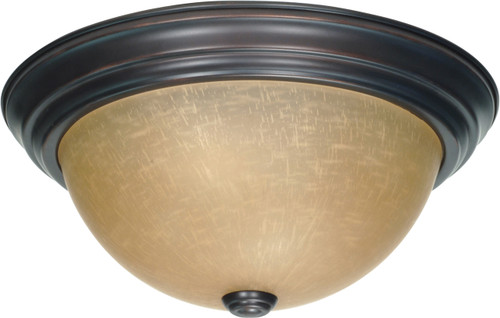 """NUVO Lighting 60/1256 2 Light 13"""" Flushmount with Champagne Linen Washed Glass"""
