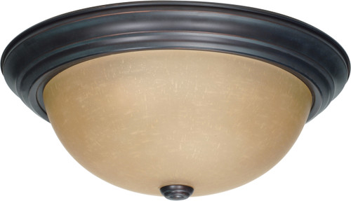 """NUVO Lighting 60/1257 3 Light 15"""" Flushmount with Champagne Linen Washed Glass"""