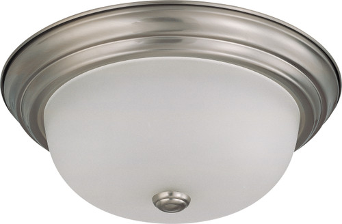 """NUVO Lighting 60/3312 2 Light 13"""" Flushmount with Frosted White Glass (2) 13W GU24 (Bulbs Included)"""