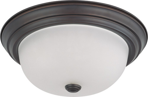 """NUVO Lighting 60/3336 2 Light 13"""" Flushmount with Frosted White Glass (2) 13W GU24 (Bulbs Included)"""