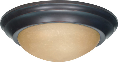 """NUVO Lighting 60/1282 2 Light 14"""" Flushmount Twist & Lock with Champagne Linen Washed Glass"""