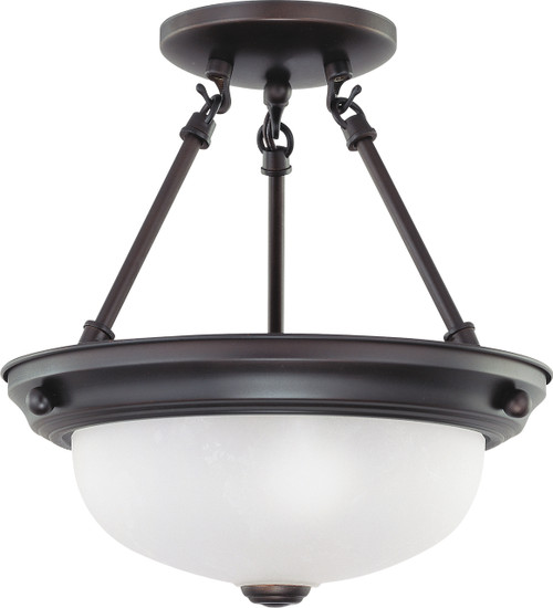 """NUVO Lighting 60/3148 2 Light 11"""" Semi Flushmount with Frosted White Glass"""