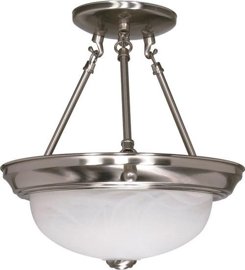 "NUVO Lighting 60/200 2 Light 11"" Semi Flushmount Alabaster Glass"