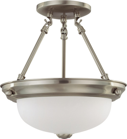 """NUVO Lighting 60/3244 2 Light 11"""" Semi Flushmount with Frosted White Glass"""