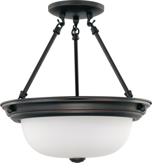 """NUVO Lighting 60/3149 2 Light 13"""" Semi Flushmount with Frosted White Glass"""