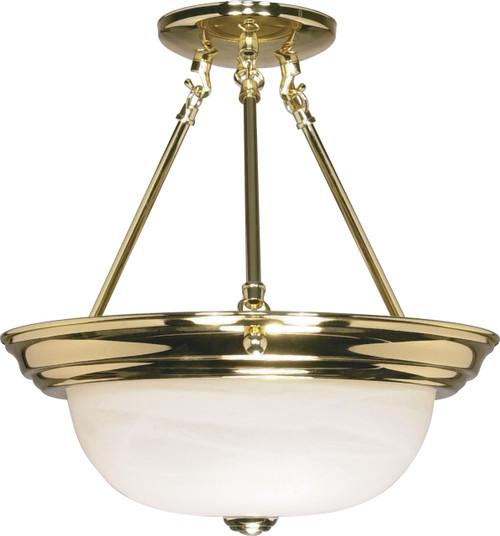 "NUVO Lighting 60/217 2 Light 13"" Semi Flushmount Alabaster Glass"