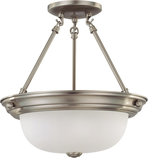 """NUVO Lighting 60/3245 2 Light 13"""" Semi Flushmount with Frosted White Glass"""