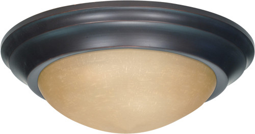 """NUVO Lighting 60/1283 3 Light 17"""" Flushmount Twist & Lock with Champagne Linen Washed Glass"""
