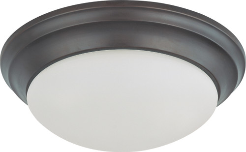 """NUVO Lighting 60/3366 2 Light 14"""" Flushmount Twist & Lock with Frosted White Glass (2) 13W GU24 (Bulbs Included)"""
