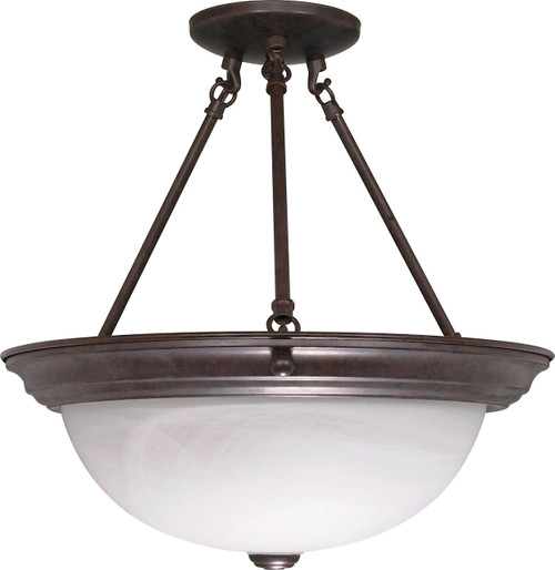 "NUVO Lighting 60/210 3 Light 15"" Semi Flushmount Alabaster Glass"