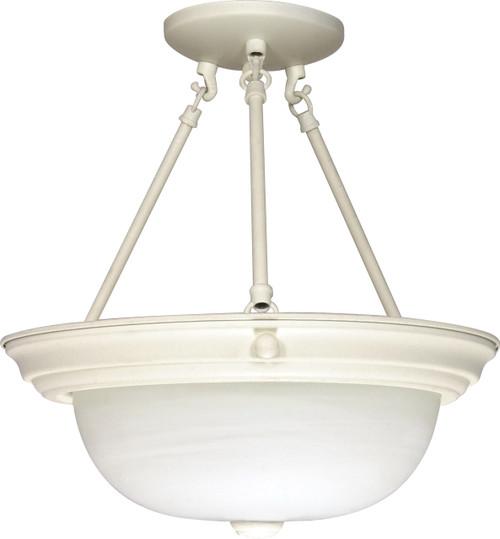 "NUVO Lighting 60/226 3 Light 15"" Semi Flushmount Alabaster Glass"