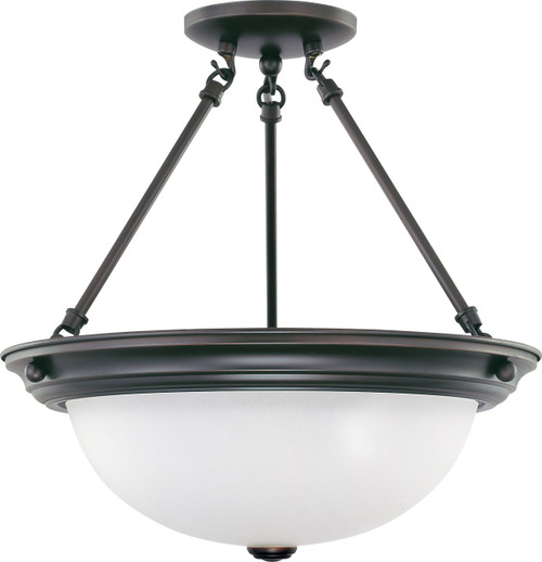 """NUVO Lighting 60/3151 3 Light 15"""" Semi Flushmount with Frosted White Glass"""