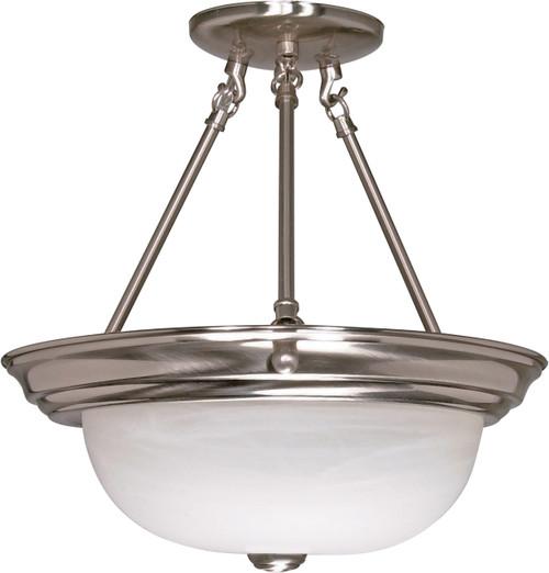 "NUVO Lighting 60/202 3 Light 15"" Semi Flushmount Alabaster Glass"
