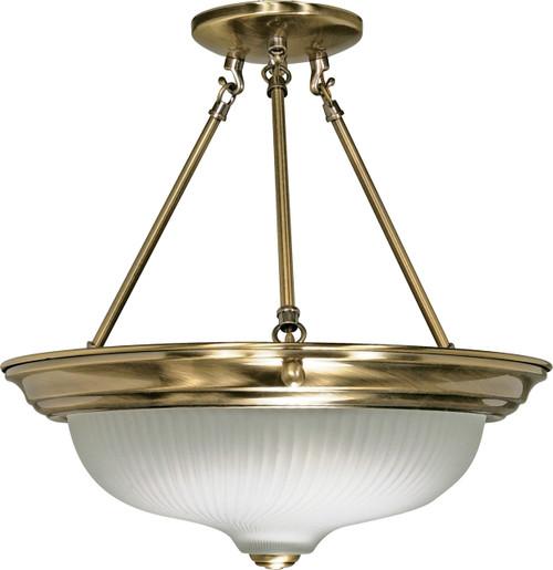 "NUVO Lighting 60/242 3 Light 15"" Semi Flushmount Frosted Swirl Glass"