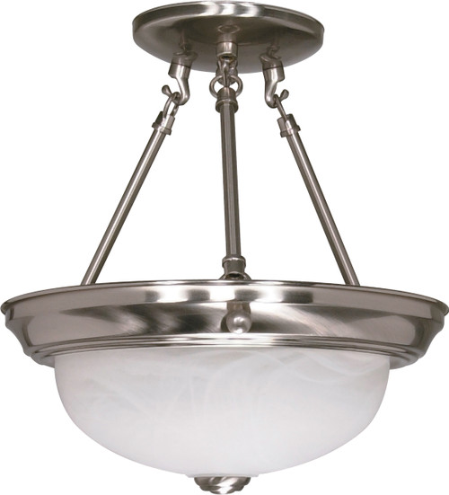"NUVO Lighting 60/3184 2 Light 11"" Semi Flushmount with Alabaster Glass (2) 13W GU24 (Bulbs Included)"