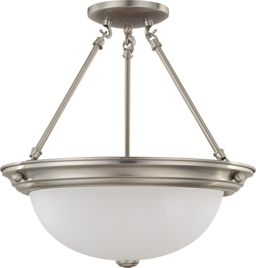 """NUVO Lighting 60/3246 3 Light 15"""" Semi Flushmount with Frosted White Glass"""