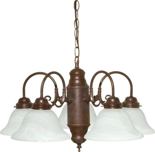 NUVO Lighting 60/1291 5 Light Chandelier Old Bronze / Alabaster Glass