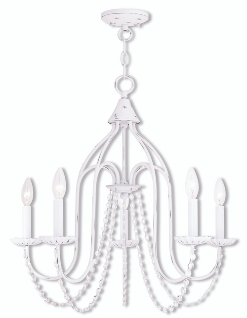 LIVEX Lighting 40795-60 Alessia Chandelier in Antique White (5 Light)