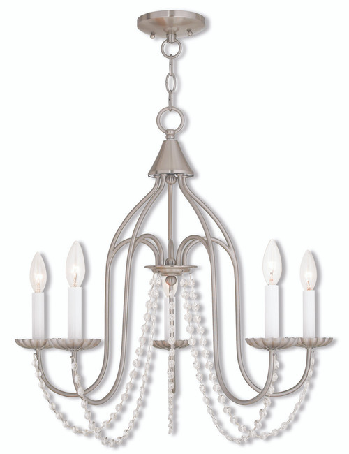 LIVEX Lighting 40795-91 Alessia Chandelier in Brushed Nickel (5 Light)