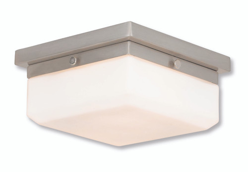 LIVEX Lighting 65536-91 Allure Contemporary ADA Wall Sconce/Flushmount in Brushed Nickel (2 Light)