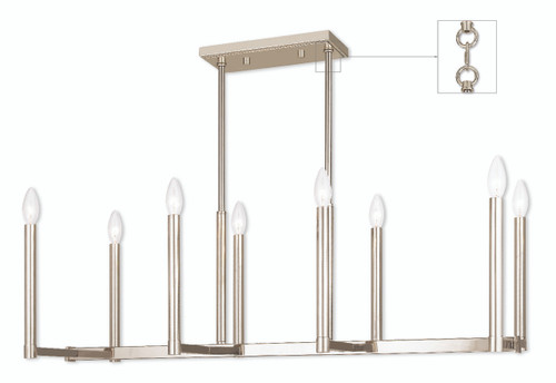 LIVEX Lighting 40258-35 Alpine Linear Chandelier in Polished Nickel (8 Light)