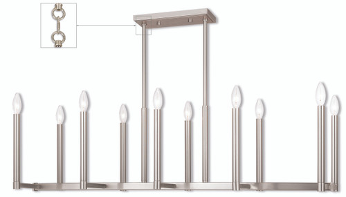 LIVEX Lighting 40259-91 Alpine Linear Chandelier in Brushed Nickel (10 Light)