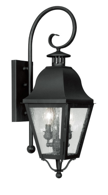 LIVEX Lighting 2551-04 Amwell Outdoor Wall Lantern in Black (2 Light)
