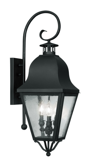 LIVEX Lighting 2555-04 Amwell Outdoor Wall Lantern in Black (3 Light)