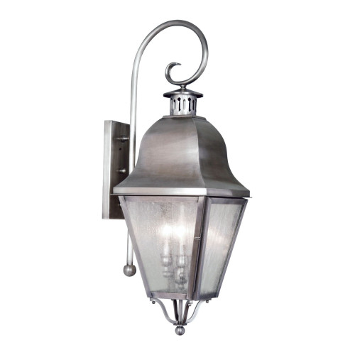 LIVEX Lighting 2555-29 Amwell Outdoor Wall Lantern in Vintage Pewter (3 Light)