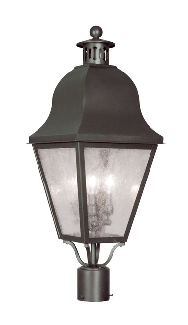 LIVEX Lighting 2556-07 Amwell Outdoor Post Lantern in Bronze (3 Light)