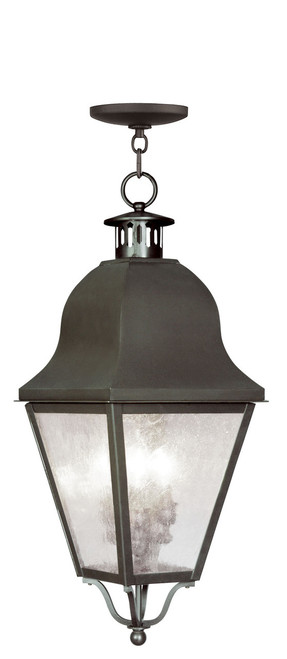 LIVEX Lighting 2557-07 Amwell Outdoor Chain Lantern in Bronze (3 Light)