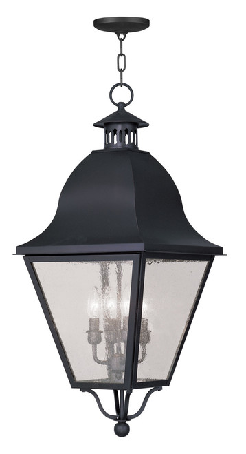 LIVEX Lighting 2547-04 Amwell Outdoor Chain Lantern in Black (4 Light)