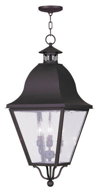 LIVEX Lighting 2547-07 Amwell Outdoor Chain Lantern in Bronze (4 Light)