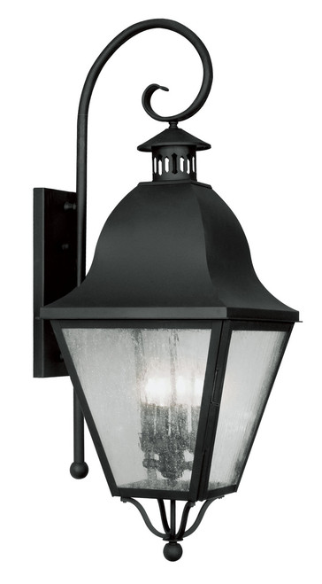 LIVEX Lighting 2558-04 Amwell Outdoor Wall Lantern in Black (4 Light)