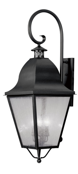 LIVEX Lighting 2559-04 Amwell Outdoor Wall Lantern in Black (4 Light)