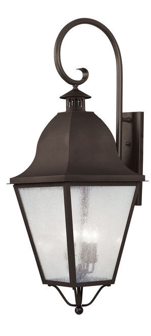 LIVEX Lighting 2559-07 Amwell Outdoor Wall Lantern in Bronze (4 Light)