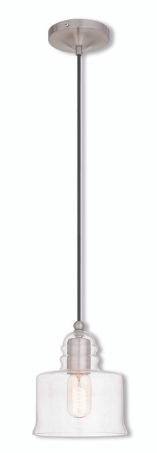 LIVEX Lighting 40606-91 Mini Pendant in Brushed Nickel (1 Light)