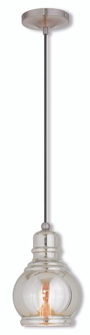 LIVEX Lighting 40604-91 Mini Pendant in Brushed Nickel (1 Light)